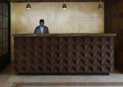 Reception Desk Wood Pattern Concept