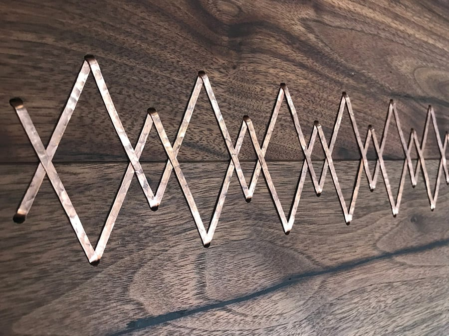 Copper Stitched Walnut Planks | Woodwright